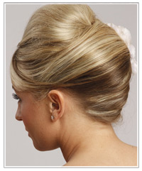Back shot of updo hairstyle with volume